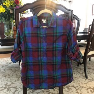 J crew flannel button up; large